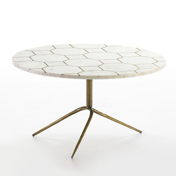 Table basse ronde marbre blanc et métal doré Sami - Photo n°1
