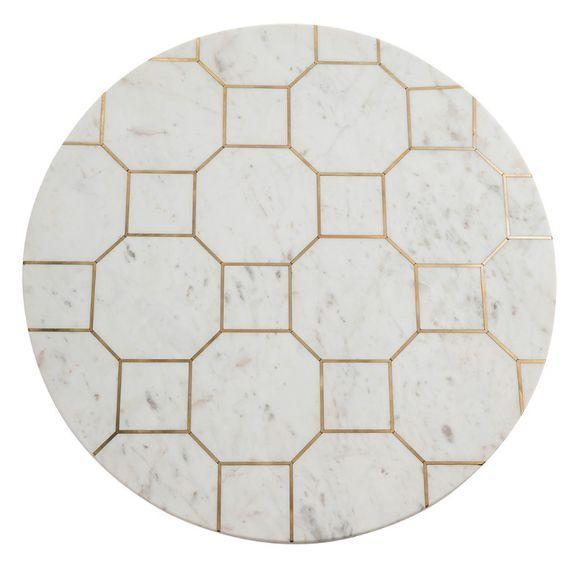 Table basse ronde marbre blanc et métal doré Sami - Photo n°2