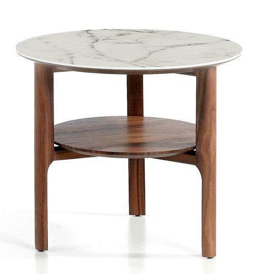 Table d'appoint bois noyer et plateau en marbre céramique blanc Mykal - Photo n°1