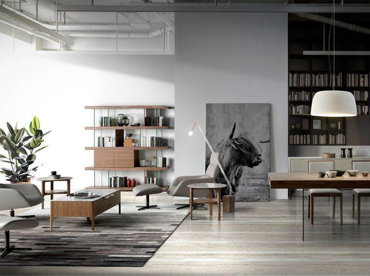 Table d'appoint bois noyer et plateau en marbre céramique blanc Mykal - Photo n°4