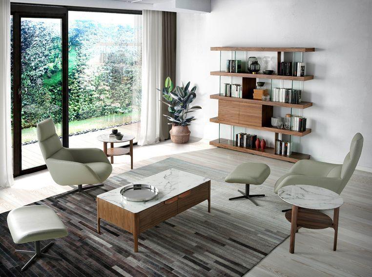 Table d'appoint bois noyer et plateau en marbre céramique blanc Mykal - Photo n°5