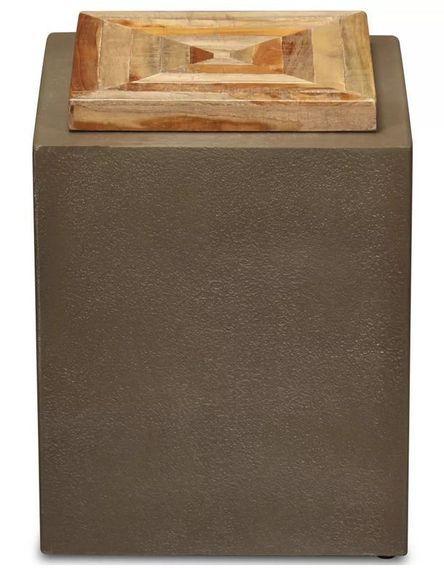 Table d'appoint carrée teck massif clair et pieds béton Tokako - Photo n°2