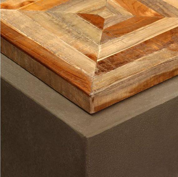 Table d'appoint carrée teck massif clair et pieds béton Tokako - Photo n°3