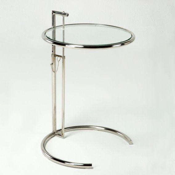 Table d'appoint verre trempé et métal chromé Junie - Photo n°1