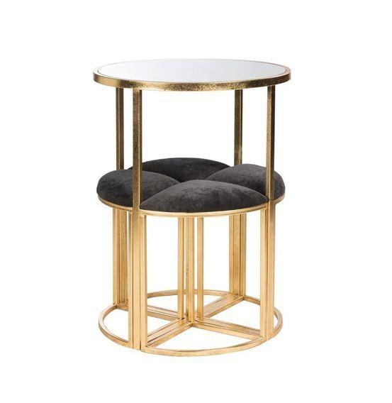 Table de bar et 4 tabourets métal doré et tissu noir Ysarg - Photo n°2