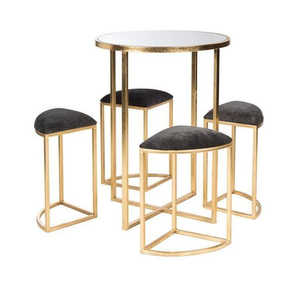 Table de bar et 4 tabourets métal doré et tissu noir Ysarg - Photo n°1