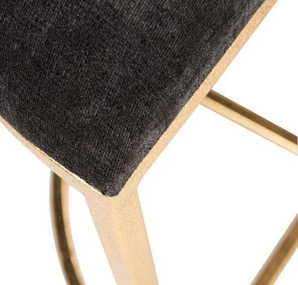Table de bar et 4 tabourets métal doré et tissu noir Ysarg - Photo n°4