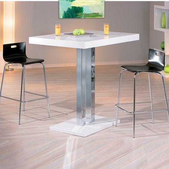 Table de bar laqué blanc et pieds métal chromé Razzi 120 cm - Photo n°2