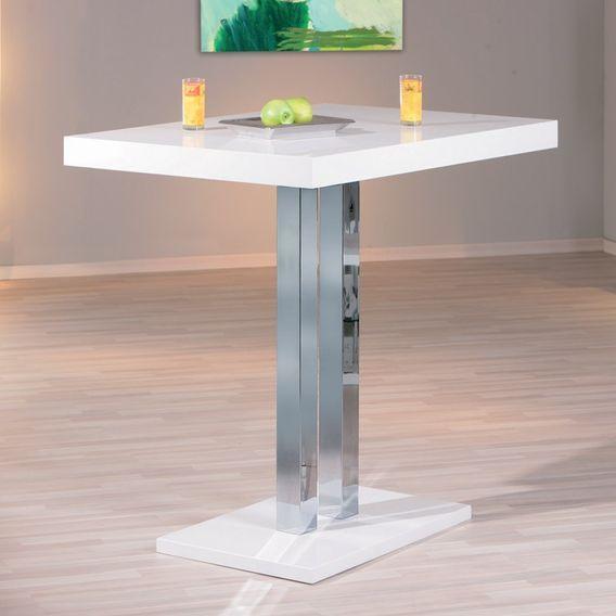 Table de bar laqué blanc et pieds métal chromé Razzi 120 cm - Photo n°3