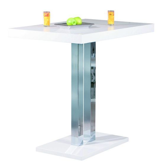 Table de bar laqué blanc et pieds métal chromé Razzi 120 cm - Photo n°1