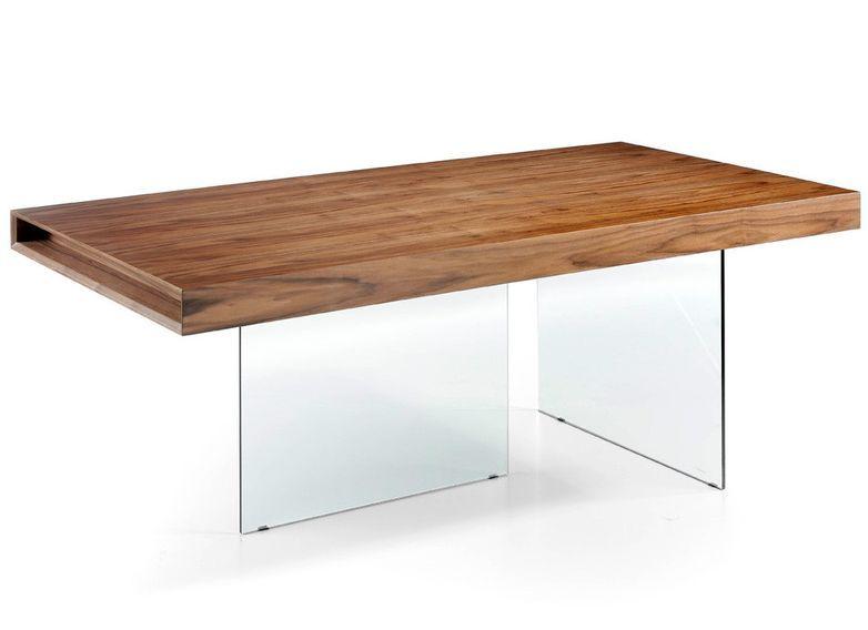 Table moderne bois noyer et pieds verre trempé Zooka 200 cm - Photo n°1