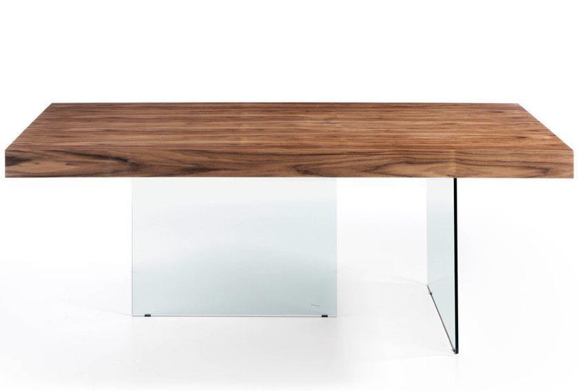Table moderne bois noyer et pieds verre trempé Zooka 200 cm - Photo n°5
