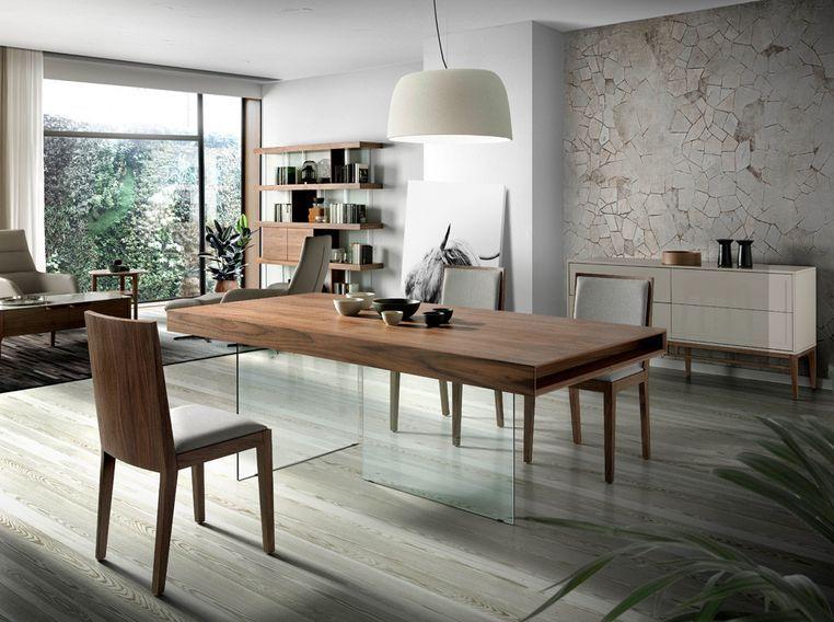 Table moderne bois noyer et pieds verre trempé Zooka 200 cm - Photo n°2