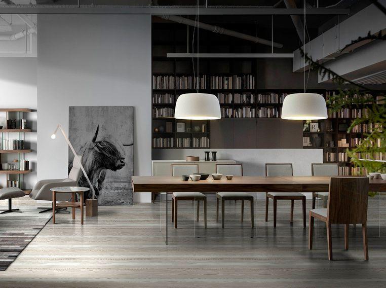 Table moderne bois noyer et pieds verre trempé Zooka 200 cm - Photo n°3
