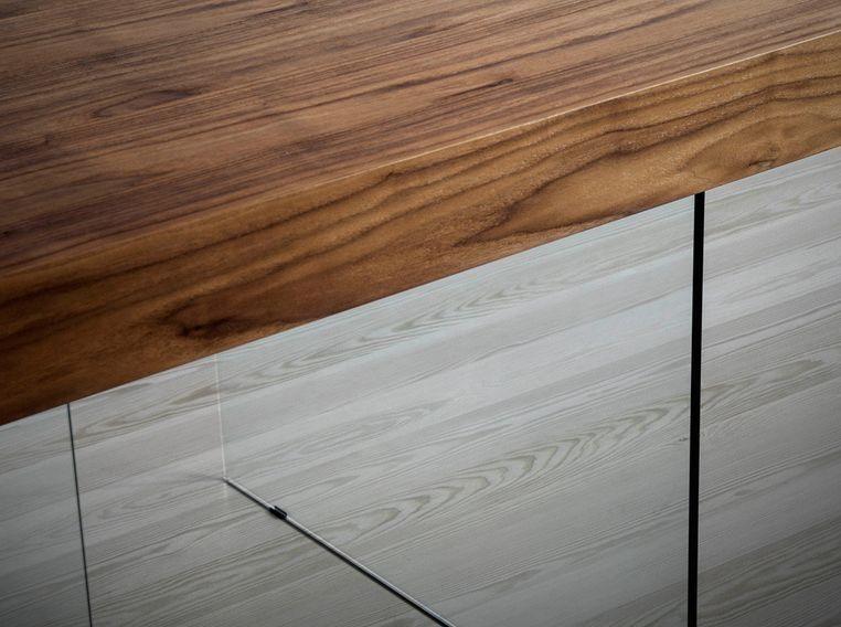 Table moderne bois noyer et pieds verre trempé Zooka 200 cm - Photo n°4