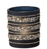 Photophore verre noir et paillettes dorées Ysarg