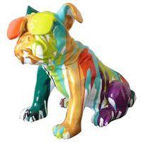 Sculpture bulldog à lunettes polyrésine multicolore Tiere 40 cm