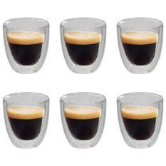6 pcs Verres thermos à double paroi pour café expresso 80 ml