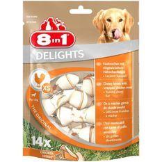 8IN1 Friandise os a mâcher Delight - Garni de poulet - 14 pieces - Pour chien de 2 a 12 kg
