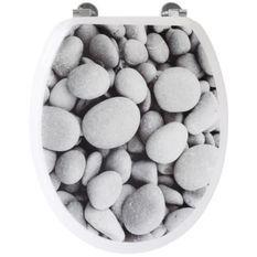 Abattant WC galets de plage - Gris