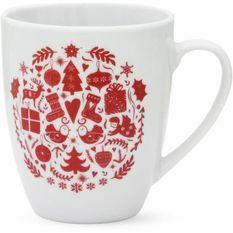 ABS T1904308-2X set de 2 mug avec decal 32cl forme boule - Theme noël scandinave