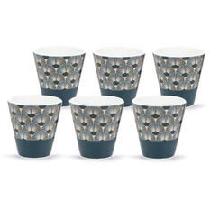ABS T1904311-PX set de 6 tasses a café en porcelaine forme V sans anse aved decal en or 9.6cl - Theme bleu artdeco