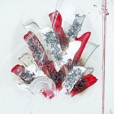 ABSTRAIT Tableau déco toile peinte a la main 50x50 cm rouge, gris et blanc