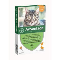 ADVANTAGE 40 - 4 pipettes antiparasitaires - Pour chat et lapin de moins de 4kg