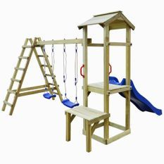 Aire de jeu avec toboggan échelles balançoires Bois de pin