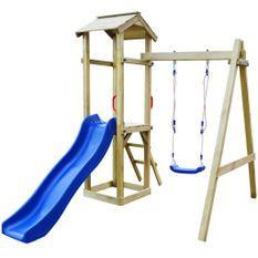 Aire de jeu et toboggan échelle balançoire Pinède