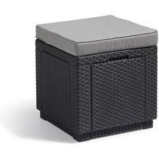 ALLIBERT BY KETER Pouf de rangement Cube Graphite 213785