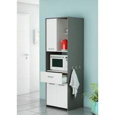 ALMOND Meuble micro-onde 60 cm - Blanc et gris graphite