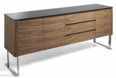 Buffet 3 tiroirs 3 portes bois noyer et verre teinté noir Lizay 200 cm
