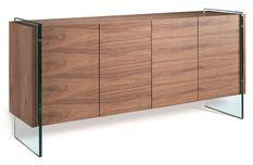 Buffet 4 portes bois noyer et pieds verre trempé Roka 170 cm