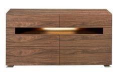 Commode 6 tiroirs bois noyer avec éclairage intérieur Led Koris 140 cm
