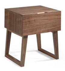 Table d'appoint 1 tiroir bois noyer Kompa