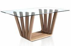 Table rectangulaire plateau verre trempé et pieds bois plaqué noyer Matega 180 cm