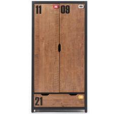 Armoire 2 portes 1 tiroir pin massif foncé et noir Alex