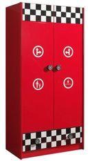 Armoire 2 portes bois rouge Cara L 90 cm