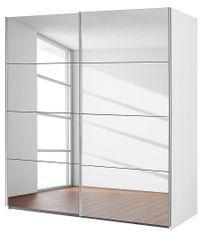 Armoire 2 portes coulissantes 181 avec miroir et blanc alpin Balto