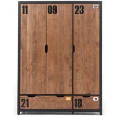 Armoire 3 portes 2 tiroirs pin massif foncé et noir Alex