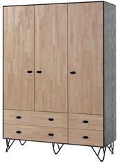 Armoire 3 portes 4 tiroirs bois massif clair et gris Arna