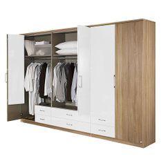 Armoire 5 portes chêne clairet bois blanc laqué Rony 225