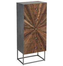 Armoire 5 tiroirs bois massif foncé et pieds métal gris Sanil