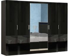Armoire 6 portes bois brillant noir Mona