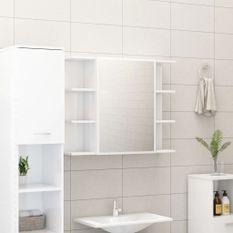 Armoire à miroir de bain Blanc brillant 80x20,5x64 cm Aggloméré