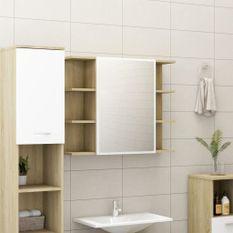 Armoire à miroir de bain Blanc et chêne sonoma 80x20,5x64 cm