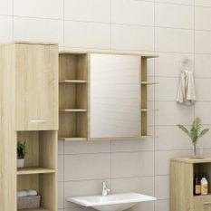 Armoire à miroir de bain Chêne sonoma 80x20,5x64 cm Aggloméré