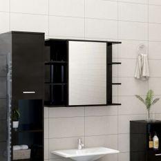 Armoire à miroir de bain Noir brillant 80x20,5x64 cm Aggloméré