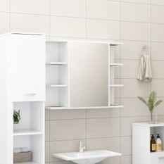 Armoire à miroir de salle de bain Blanc 80x20,5x64 cm Aggloméré
